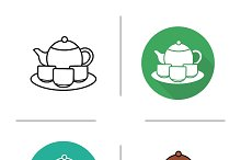 Tea ceremony. 4 icons. Vector