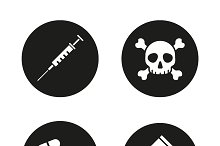 Drugs. 4 icons set. Vector