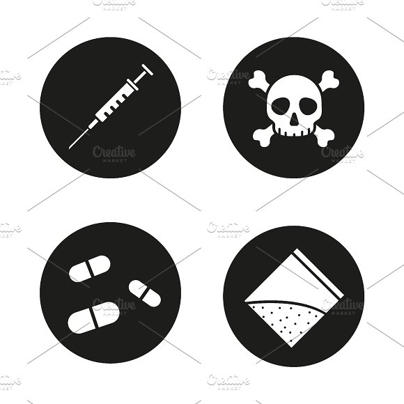 Drugs. 4 icons set. Vector - Icons