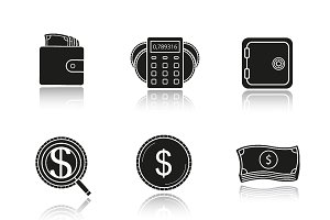 Banking and finance. 9 icons. Vector