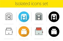 Kitchen electronics 12 icons. Vector