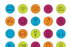 Digital devices. 20 icons. Vector