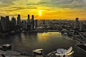 Singapore Marina bay at sunset