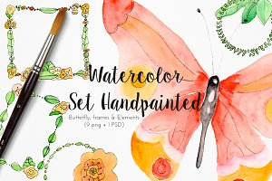 Watercolor set handpainted butterfly