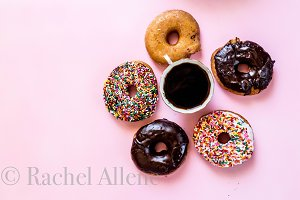 Donut Stock Photo on pink background