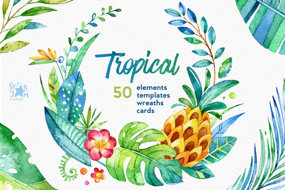 Tropical Watercolour Collection Illustrations