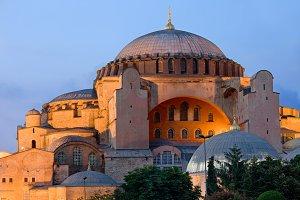 Hagia Sophia at Dusk in Istanbul