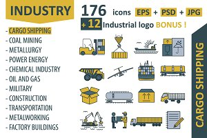 Industrial icon big set
