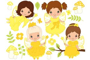 Vector Fairy Girls Set