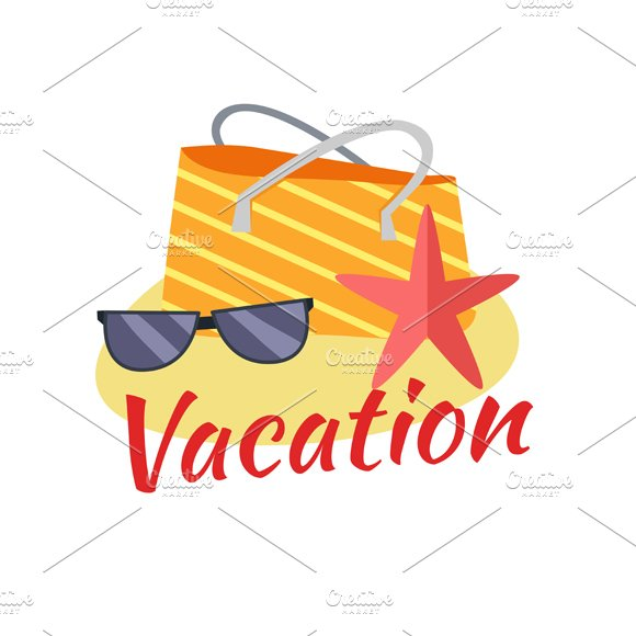 Summer Vacation on Tropical Beach in Illustrations