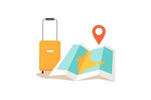 Travel India Conceptual Illustration
