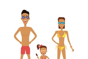 Family in Swimming Attire