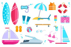 Set Summer Beach Icons