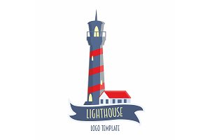 Lighthouse logo in flat style