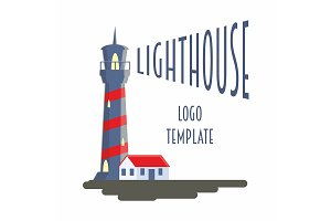 Logotype template with lighthouse