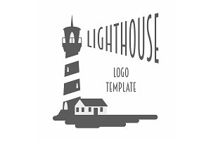 Logo, sign or label with lighthouse