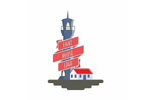 Logo design concept with lighthouse