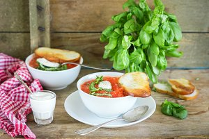 Gaspacho or tomato soup with basil