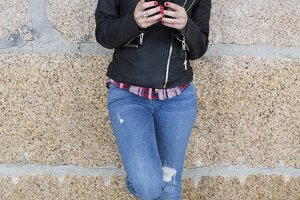 hipster girl with mobile phone