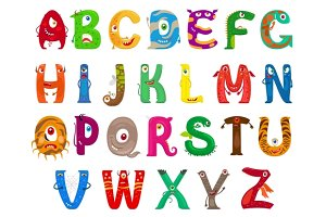 Monster funny alphabet