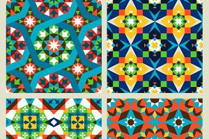 Moroccan mosaic seamless patterns
