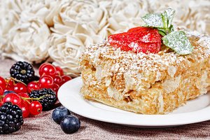 Flaky pastry with strawberries