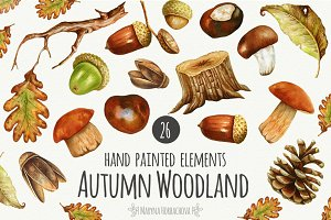 Autumn watercolor woodland set.