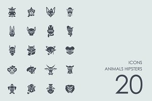 Animals hipsters icons