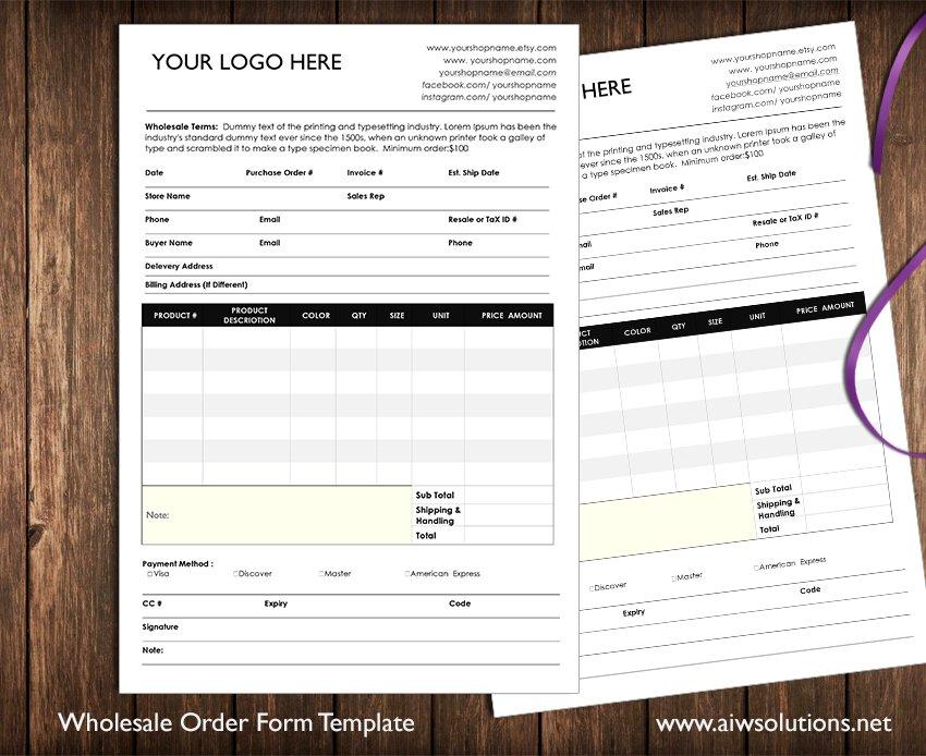 wholesale order form stationery templates creative market. Black Bedroom Furniture Sets. Home Design Ideas