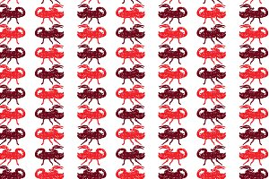 Seamless pattern of red scorpion