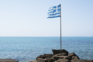 Greek flag on the beach.