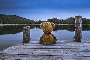 Teddy bear sitting on a pier
