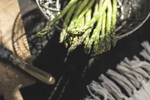 Asparagus on vintage table