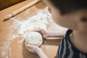 Making bread in a kitchen