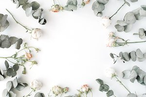 Floral frame with roses & eucalyptus