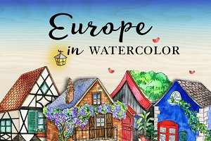 European Houses in watercolor