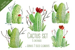 Cactus Watercolor Set