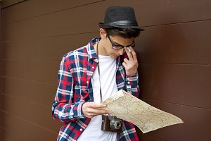 young travel with the map