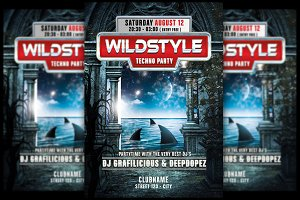 Wildstyle Techno Flyer