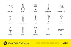 Construction tools (vector icons)