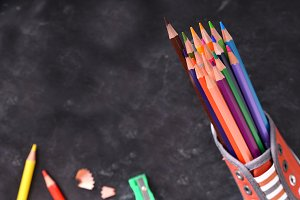 Colored pencils inside a shoe top