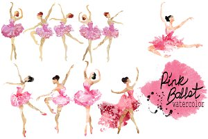Pink ballet.watercolor