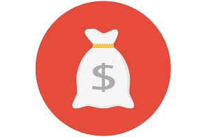 Money bag icon flat