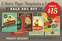 SALE: 6Retro Flyer Templates v.3