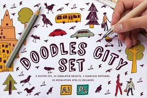 Doodles city vector set