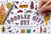 Doodles city vector set