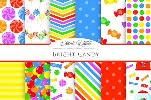 Bright Candy Digital Paper Patterns