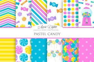 Pastel Candy Digital Paper Patterns