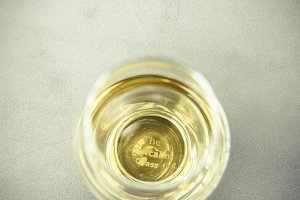 whiskey glass and bottle