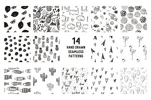 Cute hand drawn seamless patterns
